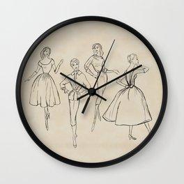 Vintage Fashion Sketches Wall Clock
