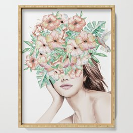 She Wore Flowers in Her Hair Island Dreams Serving Tray