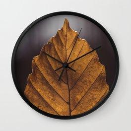 Yellow elm leaf Wall Clock