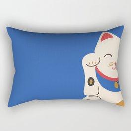 Blue Lucky Cat Maneki Neko Rectangular Pillow