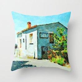 Blue house Throw Pillow