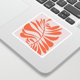 Blush Pink Red Tropical Leaf Sticker