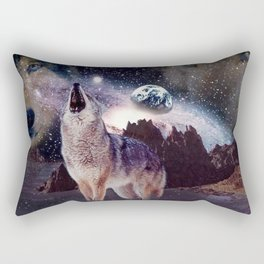 Wolf in the moon howling at the earth Rectangular Pillow