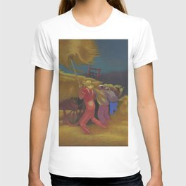 Race Against the Rain - Haying Before the Storm landscape painting by Bernard Steffen T-shirt