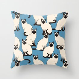 Siamese Cats crowd on blue Throw Pillow