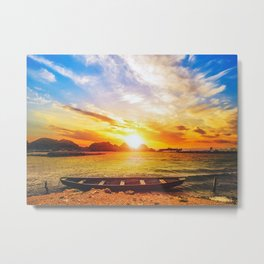 Sunset On Beach With Boat Metal Print