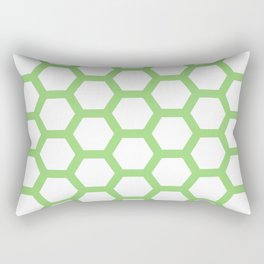 Green and White Pentagon Honeycomb Pattern Rectangular Pillow