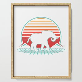 Elephant Retro Vintage 80s Style Animal Lover Gift T-Shirt Serving Tray