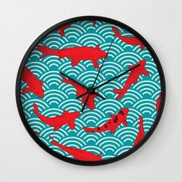 Koi carp. Red fish. black outline sketch doodle. azure teal burgundy maroon Nature oriental backgrou Wall Clock