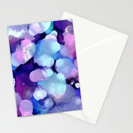 Late Night Dance Party Bokeh - Blue, Purple, Pink Ink Stationery Cards