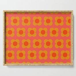Retro Mod Flower Pattern in Orange Serving Tray