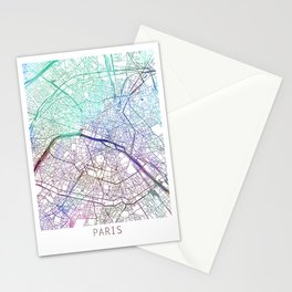 Paris Map Watercolor Blue by Zouzounio Art Stationery Cards