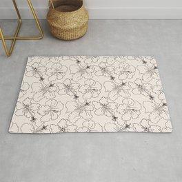 Minimalistic floral line art botanical print Edit Rug