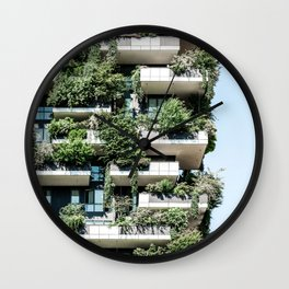 Bosco Verticale, Modern Architecture Print, Urban Jungle, Vertical Forest, Residential Towers Milan, Italy Ecology Architect Wall Clock