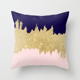 Modern navy blue blush pink gold glitter brushstrokes Throw Pillow