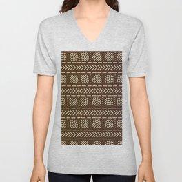 Mudcloth Chocolate Brown Unisex V-Neck