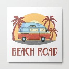 Beach Road  TShirt Vintage Caravan Shirt Travel Road Gift Idea Metal Print