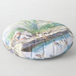 Myles Birket Foster - The ferry - Digital Remastered Edition Floor Pillow