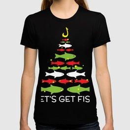 Let's Get Fish Christmas Design For December 25th T-shirt Design Jesus Birthday Carol Gift Tree T-shirt