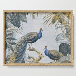 Peacocks Paradise Imaginative Botanical Illustration Serving Tray