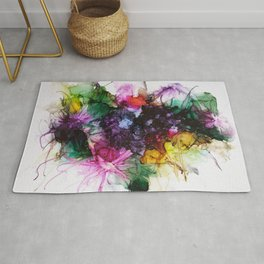 Abstract Flowers  Happy Colors Multicolored Rug
