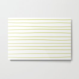 VA Lime Green - Lime Mousse - Bright Cactus Green - Celery Hand Drawn Horizontal Lines on White Metal Print