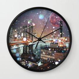 New York City Lights Manhattan Rooftop City Views Wall Clock