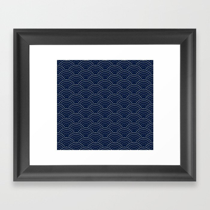 Japanese Blue Wave Seigaiha Indigo Super Moon Pattern Gerahmter Kunstdruck