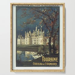 Vintage French Travel Poster: Chateau de Chambord, Touraine (1900s) Serving Tray