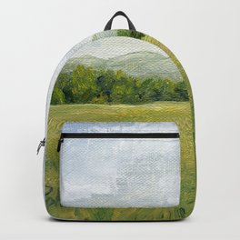 Vermont Landscape Mountain Fields Trees Pastures Oil Painting Backpack