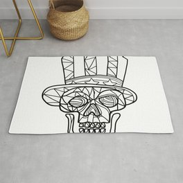 Skull Uncle Sam Black and White Mosaic Rug