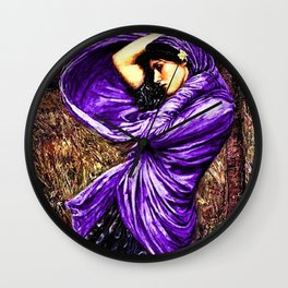 Boreas 1903 by John William Waterhouse in purple decor Wall Clock