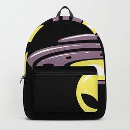 Alien UFO motif alien head saucer design Backpack