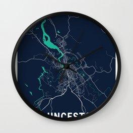 Launceston Blue Dark Color City Map Wall Clock