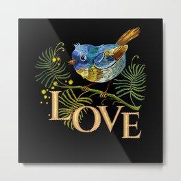 Love Bird Embroidery Metal Print