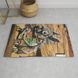 Bunny Rabbit Graffiti Art Rug
