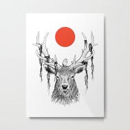 deer in wildlife with cute bird and red moon Metal Print