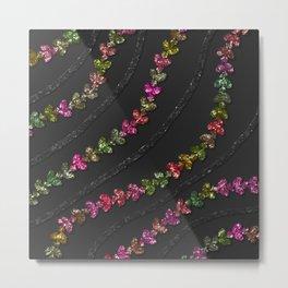 Glittery Colorful Vines With  Black Glitzy Gauzy Ornaments Metal Print