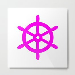 Ship Wheel (Magenta & White) Metal Print