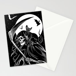 Grim Reaper & Cat Stationery Cards