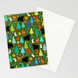 black bear woodland Stationery Cards
