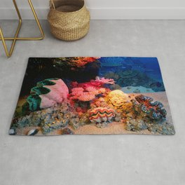 Tropical Undersea Coral Clam Seashells Rug