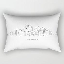Philadelphia Skyline Drawing Rectangular Pillow