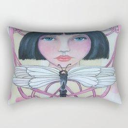 Art Deco Face and Dragonfly Rectangular Pillow