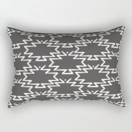 Southwest Azteca - Dotted Textured Geometric Pattern in Charcoal Gray Monochrome  Rectangular Pillow