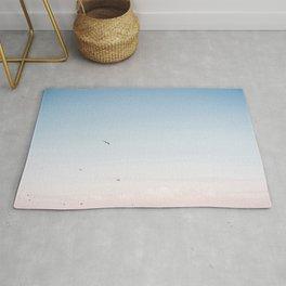 "Coastal beach photography ""Pastel colored sky""    Printable photo art print   Seagulls Rug"