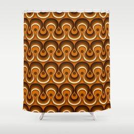 Brown, Orange & Ivory Wavy Lines Retro Pattern Shower Curtain