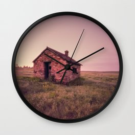 Abandoned Stone House on The Prairie Wall Clock
