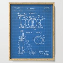Drum Set Patent - Drummer Art - Blueprint Serving Tray