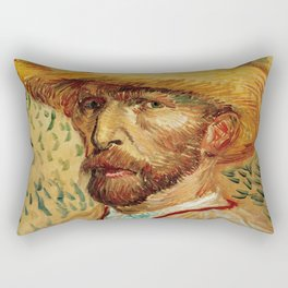 Van Gogh, Self-Portrait with Straw Hat, – Van Gogh,Vincent Van Gogh,impressionist,post-impressionism Rectangular Pillow